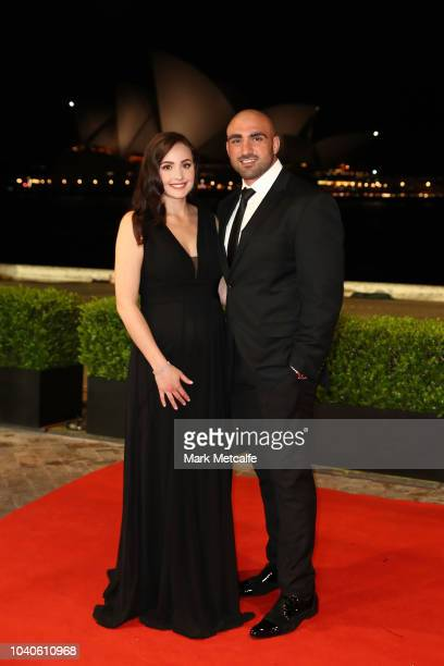 Tim Mannah and his wife Stephanie Mannah arrive at the 2018 Dally M Awards at Overseas Passenger Terminal on September 26 2018 in Sydney Australia