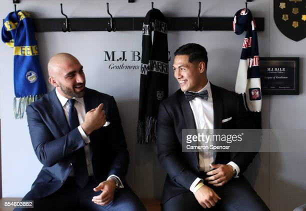 Tim Mannah of the Eels and Roger TuivasaSheck of the Roosters attends the MJ Bale Dally M League Of Gentlemen at The Star on September 27 2017 in...