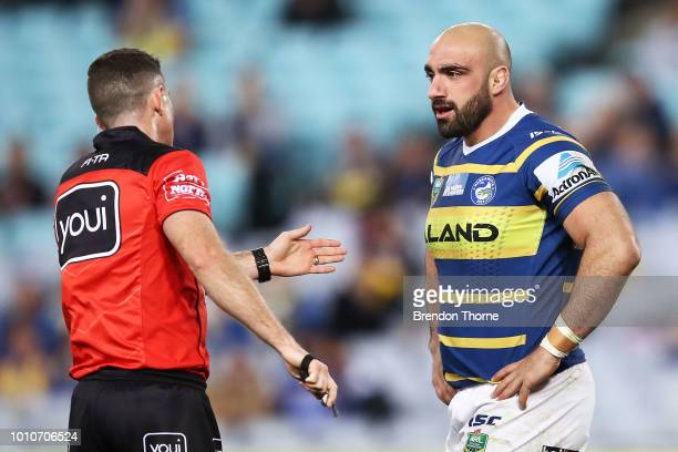 Tim Mannah of the Eels is sent to the sin bin by referee Chris Sutton during the round 21 NRL match between the Parramatta Eels and the Gold Coast...
