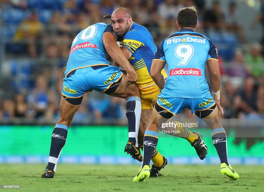 Tim Mannah of the Eels runs the ball during the round three NRL match between the Gold Coast Titans and the Parramatta Eels at Cbus Super Stadium on March 17, 2017 in Gold Coast, Australia.