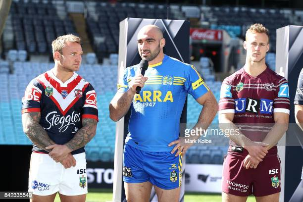 Tim Mannah of the Eels speaks to the media during the 2017 NRL Finals Series Launch at ANZ Stadium on September 4 2017 in Sydney Australia