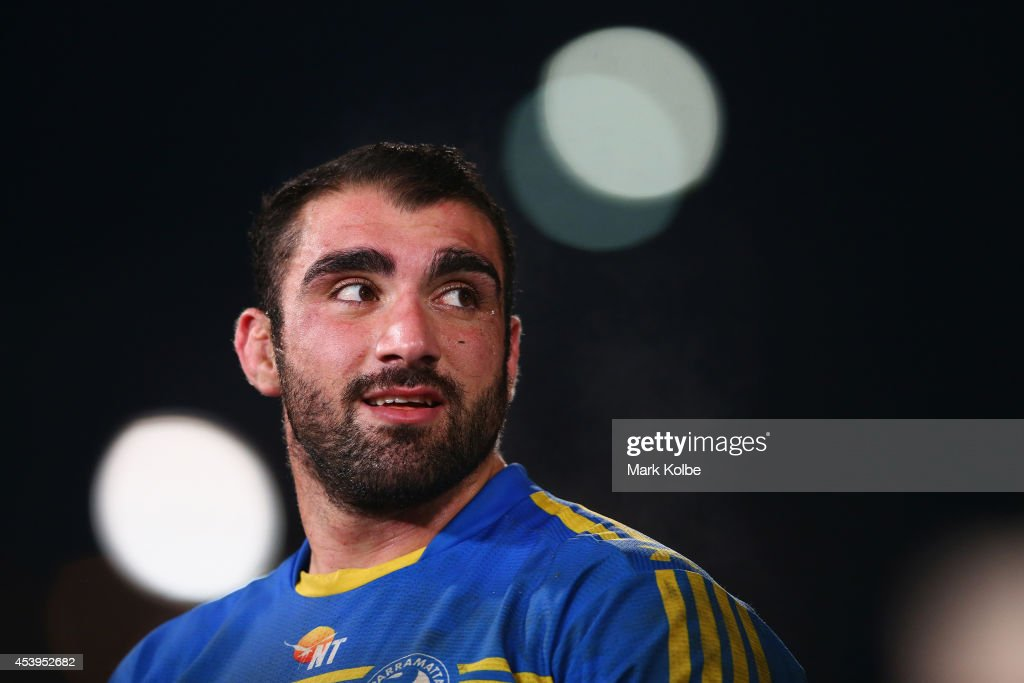 Tim Mannah of the Eels watches on during the post game farewells after the round 24 NRL match between the Parramatta Eels and the Manly Sea Eagles at Pirtek Stadium on August 22, 2014 in Sydney, Australia.