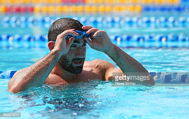 Tim Mannah takes off his goggles during a Parramatta Eels NRL recovery session at Pirtek Stadium on March 25 2014 in Sydney Australia