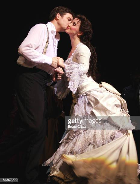 Tim Martin Gleason as Raoul and Elizabeth Loyacano as Christine at the curtain call for The Phantom of the Opera 21st Anniversary Celebration on...