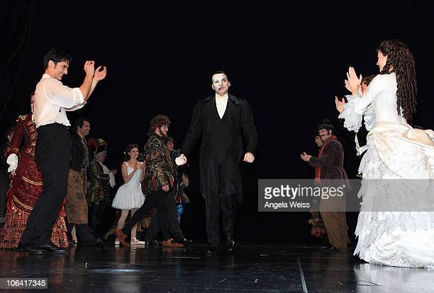 Tim Martin Gleason performs during the Phantom of the Opera closing night show at The Pantages Theater on October 31 2010 in Los Angeles California