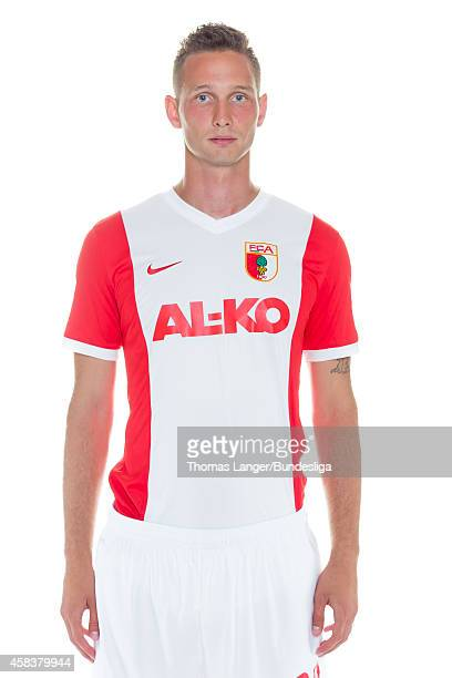 Tim Matavaz poses during the FC Augsburg team presentation at SGLArena on July 16 2014 in Augsburg Germany