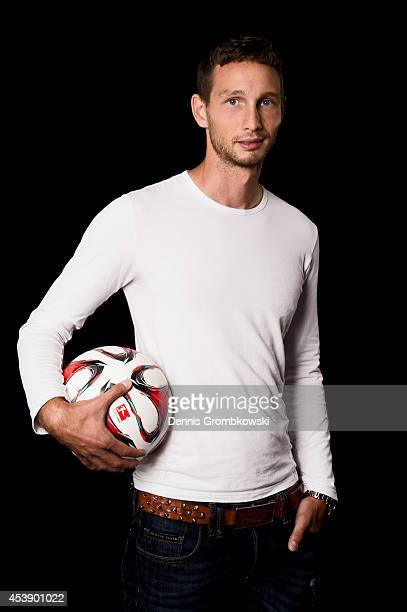 Tim Matavz of FC Augsburg poses during a photo call on August 11 2014 in Munich Germany