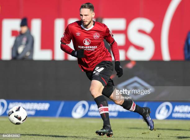 Tim Matavz of FC Nuernberg in action during the Second Bundesliga match between 1 FC Nuernberg and SG Dynamo Dresden at Arena Nuernberg on January 29...