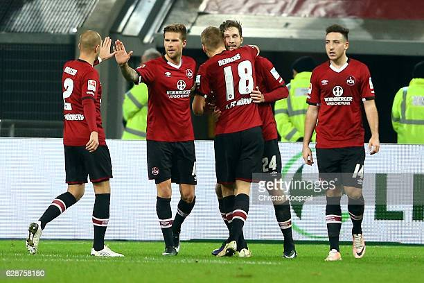 Tim Matavz of Nuernberg celebrates the second goal with Hannmo Behrens during the Second Bundesliga match between Fortuna Duesseldorf and 1 FC...