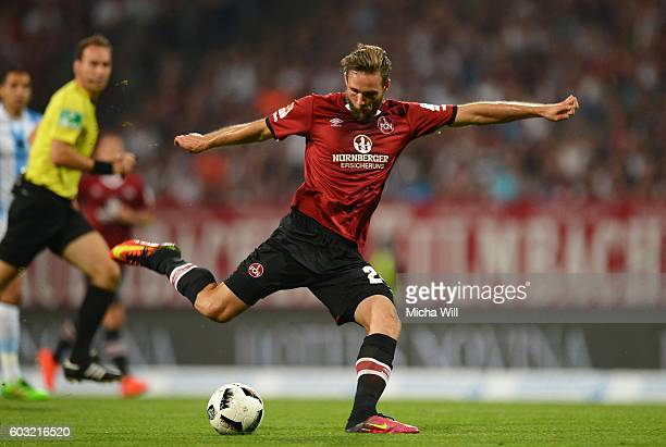 Tim Matavz of Nuernberg scores his team's first goal during the Second Bundesliga match between 1 FC Nuernberg and TSV 1860 Muenchen at Arena...