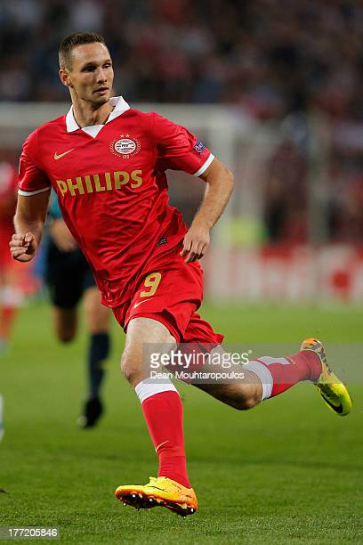 Tim Matavz of PSV in action during the UEFA Champions League Playoff First Leg match between PSV Eindhoven and AC Milan at PSV Stadion on August 20...