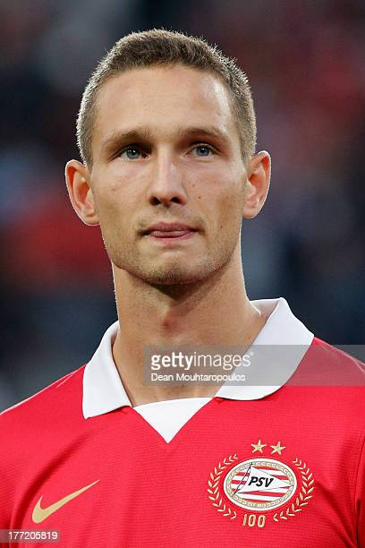 Tim Matavz of PSV looks on prior to the UEFA Champions League Playoff First Leg match between PSV Eindhoven and AC Milan at PSV Stadion on August 20...