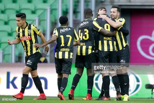 Tim Matavz of Vitesse celebrates 12 with Navarone Foor of Vitesse Thulani Serero of Vitesse Lassana Faye of Vitesse Thomas Bruns of Vitesse during...