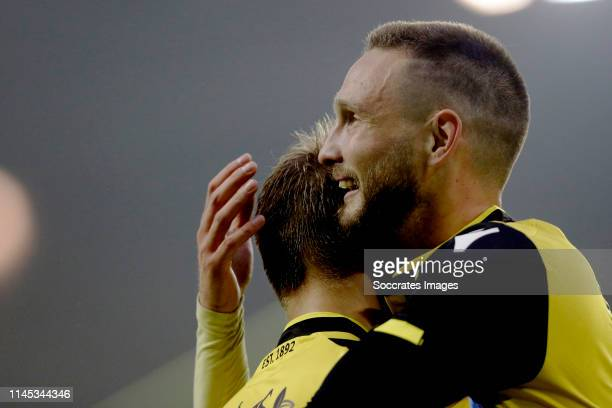 Tim Matavz of Vitesse celebrates 30 with Martin Odegaard of Vitesse during the Dutch Eredivisie match between Vitesse v FC Groningen at the GelreDome...