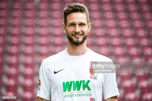 Tim Matavz poses during the FC Augsburg Team Presentation at WWKArena on July 8 2015 in Augsburg Germany