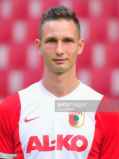 Tim Matavz poses during the team presentation of FC Augsburg at SGL Arena on July 16 2014 in Augsburg Germany