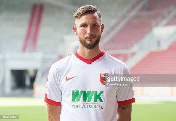Tim Matavz poses during the Team Presentation of FC Augsburg on July 28 2016 in Augsburg Germany