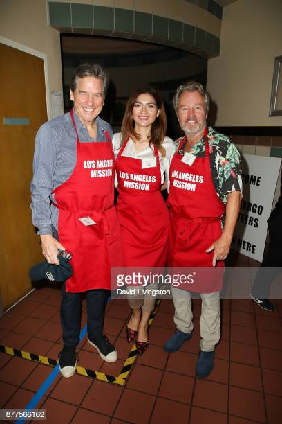Tim Matheson John Savage and Blanca Blanco are seen at the Los Angeles Mission Thanksgiving Meal for the homeless at the Los Angeles Mission on...