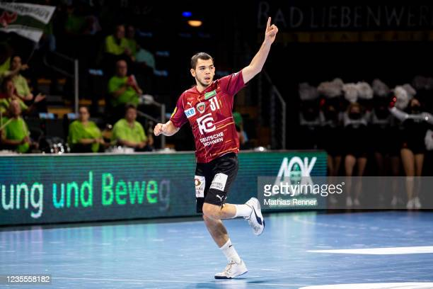 Tim Matthes of Fuechse Berlin during the EHF Handball European League match between Fuechse Berlin and KS Azoty-Pulawy at Max-Schmeling Halle on...