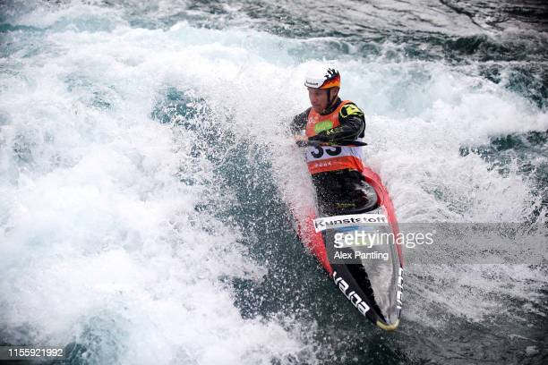 Tim Maxiner of Germany competes in the Men's K1 Heats during the 2019 ICF Canoe Slalom World Cup at Lee Valley White Water Centre on June 14 2019 in...