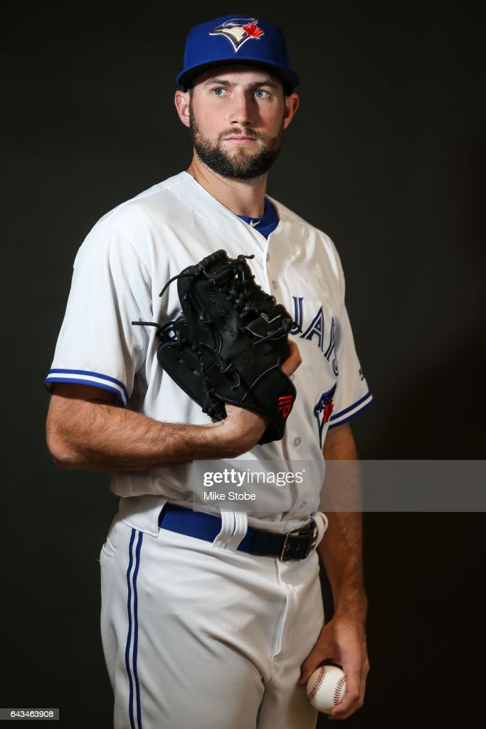 Tim Mayza #67 of the Toronto Blue Jays poses for a portait during a MLB photo day at Florida Auto Exchange Stadium on February 21, 2017 in Dunedin, Florida.