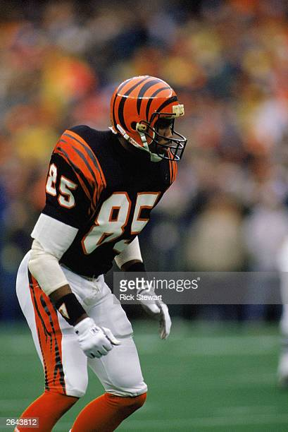 Tim McGee of the Cincinnati Bengals readies for the snap during a 1987 NFL game against the Pittsburgh Steelers at Three Rivers Stadium in Pittsburgh...