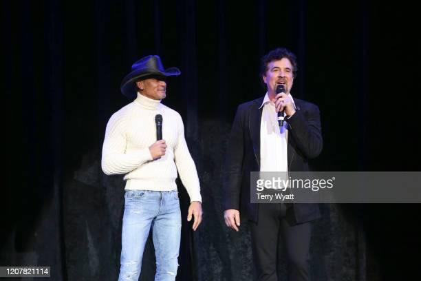 Tim McGraw and CEO of Big Machine Scott Borchetta announce Tim McGraw's return to Big Machine Records at Omni Hotel on February 21, 2020 in...