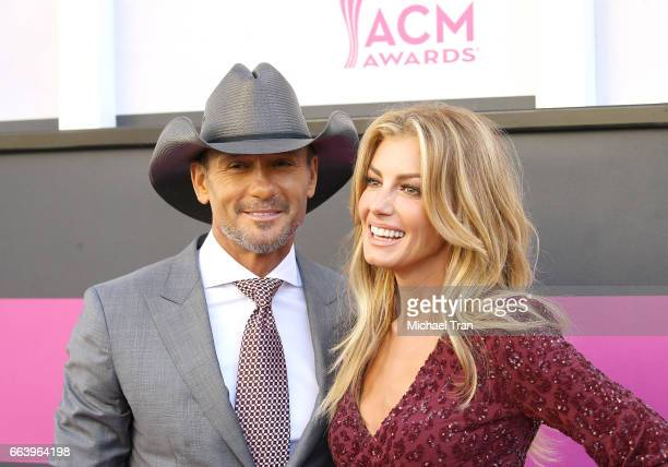 Tim McGraw and Faith Hill arrive at the 52nd Academy of Country Music Awards held at TMobile Arena on April 2 2017 in Las Vegas Nevada