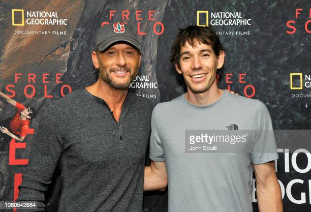 Tim McGraw and featured climber Alex Honnold attend the screening of 'Free Solo' hosted by Tim McGraw at SilverScreen Theater at the Pacific Design...