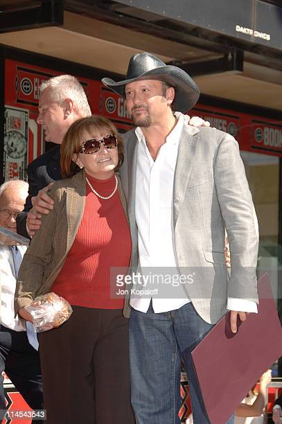 Tim McGraw and his mother Betty during Tim McGraw Honored with a Star on the Hollywood Walk of Fame at 6901 Hollywood Blvd in front of the Virgin...