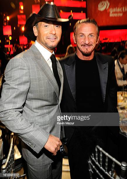 Tim McGraw and Sean Penn attend MusiCares Person Of The Year Honoring Bruce Springsteen at Los Angeles Convention Center on February 8, 2013 in Los...