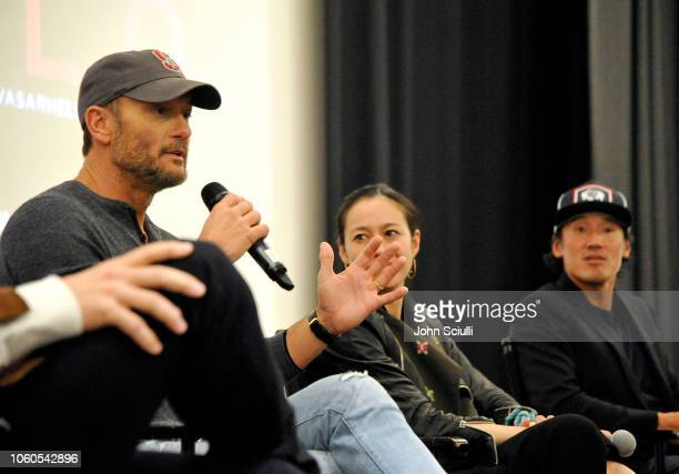 Tim McGraw director and producer Elizabeth Chai Vasarhelyi and director producer and cinematographer Jimmy Chin attend the screening of Free Solo...