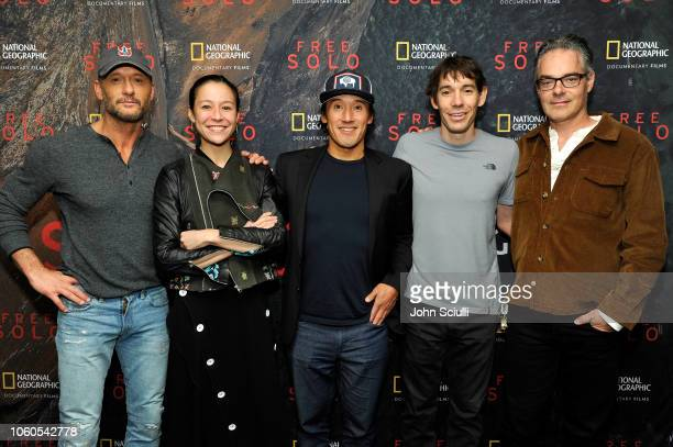 Tim McGraw director and producer Elizabeth Chai Vasarhelyi director producer and cinematographer Jimmy Chin featured climber Alex Honnold and...
