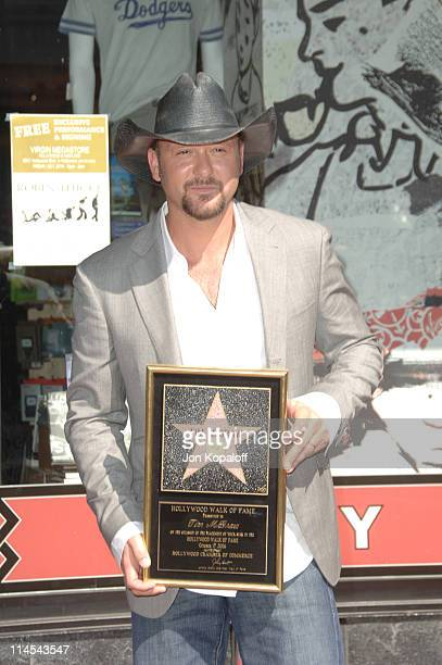 Tim McGraw during Tim McGraw Honored with a Star on the Hollywood Walk of Fame at 6901 Hollywood Blvd in front of the Virgin Megastore in Hollywood...
