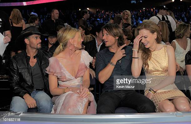 Tim McGraw Faith Hill Keith Urban and Nicole Kidman attend the 2010 CMT Music Awards at the Bridgestone Arena on June 9 2010 in Nashville Tennessee