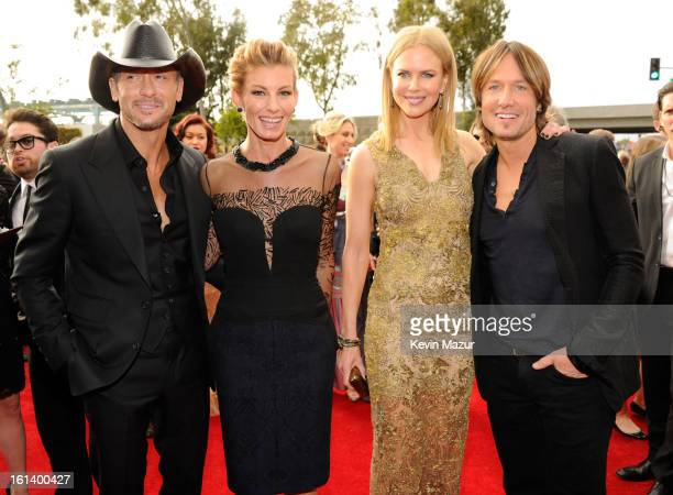 Tim McGraw, Faith Hill, Nicole Kidman and Keith Urban attend the 55th Annual GRAMMY Awards at STAPLES Center on February 10, 2013 in Los Angeles,...
