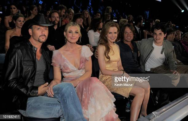 Tim McGraw Faith Hill Nicole Kidman Keith Urban and John Mayer attend the 2010 CMT Music Awards at the Bridgestone Arena on June 9 2010 in Nashville...
