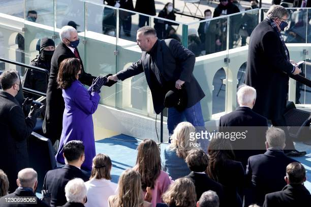 Tim McGraw greets Vice President Mike Pence during the 59th Presidential Inauguration on January 20, 2021 in Washington, DC. During today's...