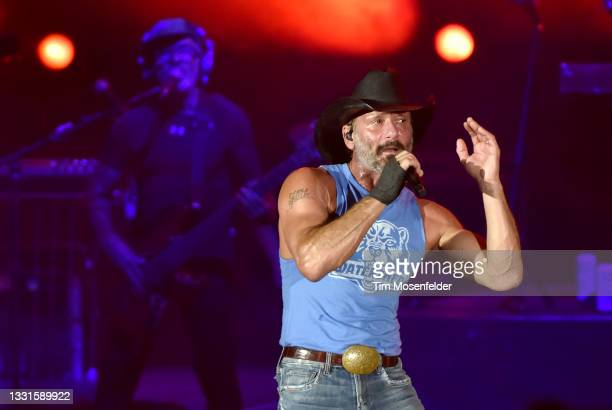 Tim McGraw performs during the 2021 Watershed music festival at Gorge Amphitheatre on July 30, 2021 in George, Washington.