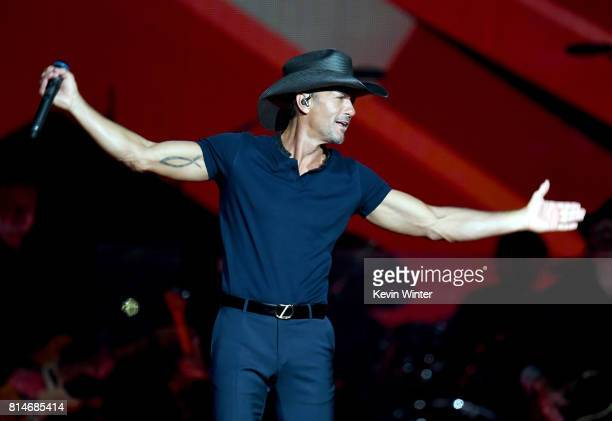 Tim McGraw performs onstage during the 'Soul2Soul' World Tour at Staples Center on July 14 2017 in Los Angeles California