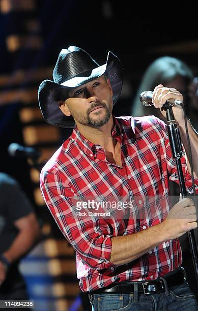 Tim McGraw prerecords performance for the Music Builds CMT Disaster Relief Concert at the Grand Ole Opry House on May 11 2011 in Nashville Tennessee...