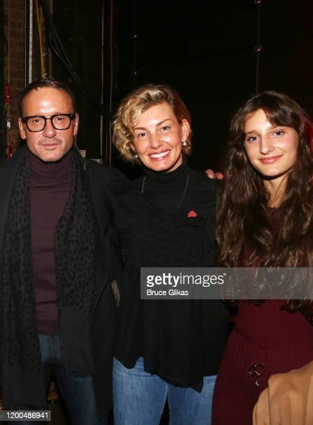 """Tim McGraw, wife Faith Hill and daughter Audrey Caroline McGraw pose backstage at the hit musical based on the Baz Luhrmann film """"Moulin Rouge!"""" on..."""