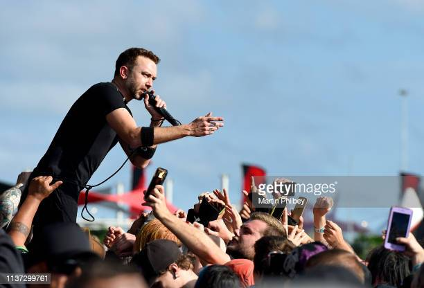 Tim McIlrath of Rise Against crowd surfs while performing at the Download Festival on 11th March 2019 in Melbourne Australia