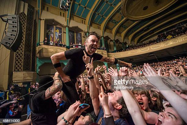 Tim McIlrath of Rise Against performs on stage at O2 Academy on November 4 2014 in Leeds United Kingdom