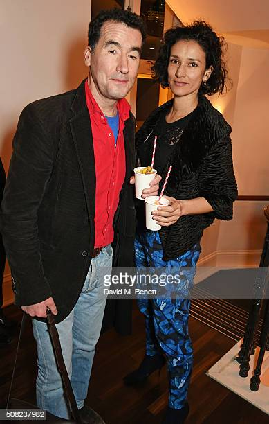 Tim McMullan and Indira Varma attend the press night after party for 'The Master Builder' at The Old Vic Theatre on February 3 2016 in London England