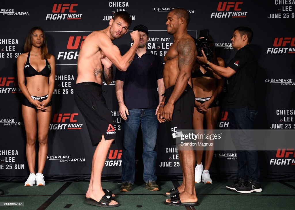Tim Means and Alex Garcia of the Dominican Republic during the UFC Fight Night weigh-in on June 24, 2017 in Oklahoma City, Oklahoma.