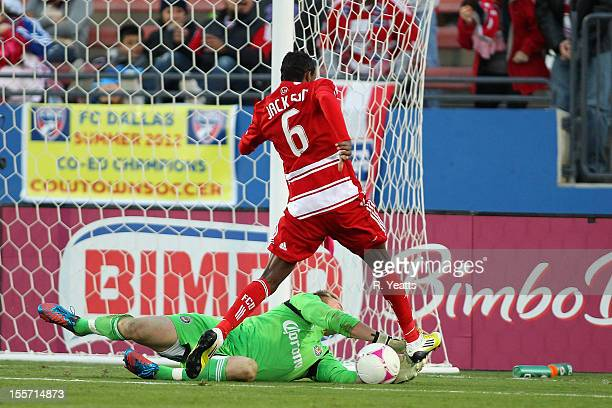 Tim Melia of Chivas USA dives to save the ball from Jackson of FC Dallas at FC Dallas Stadium on October 28 2012 in Frisco Texas