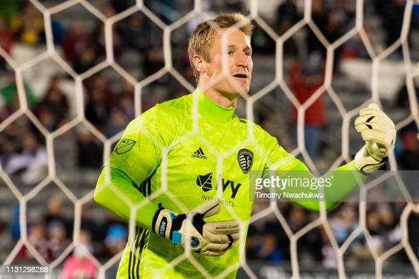 Tim Melia of Sporting Kansas City calls tactics to teammates during the second half against the Colorado Rapids at Dick's Sporting Goods Park on...