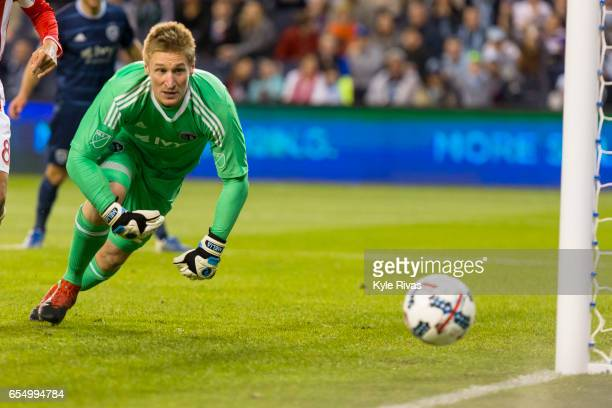 Tim Melia of Sporting Kansas City watches as a San Jose Earthquakes shot on goal goes wide in stoppage time at Children's Mercy Park on March 18 2017...