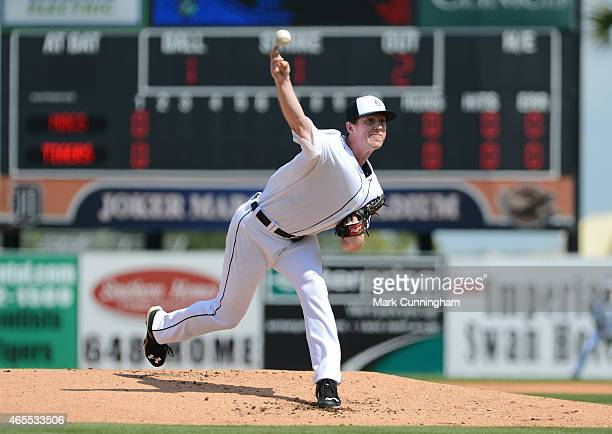 Tim Melville of the Detroit Tigers pitches during the Spring Training game against the Florida Southern College Moccasins at Joker Marchant Stadium...